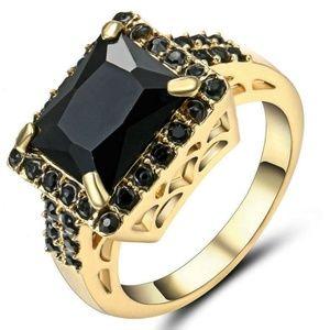 Black Sapphire Wedding Ring Yellow Rhodium Plated